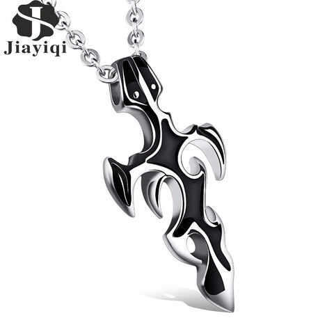 Fashion Men's Sword Stainless Steel Pendant Necklace Punk Link Chain Necklaces for Men Black Silver Color Male Jewelry