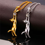 Cat Necklace & Pendant For Women Rhodium/Gold Plated Trendy Rhinestone Animal Pet Charm Jewelry