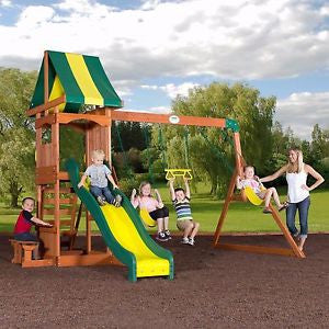 Backyard Cedar Swing Set Playground Outdoor Slide Acrobat Bar