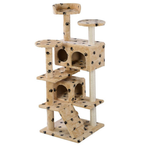 Cat Tree Tower Condo Furniture Scratch Post Kitty Pet House Beige Paws