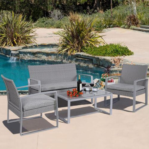 4PC Patio Furniture Set Cushioned | Outdoor Wicker Rattan Garden Lawn Sofa Durable - Price Drop Online