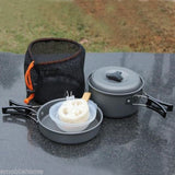 8pcs Outdoor Camping Cookware Cooking Picnic Bowl Pot Pan Set