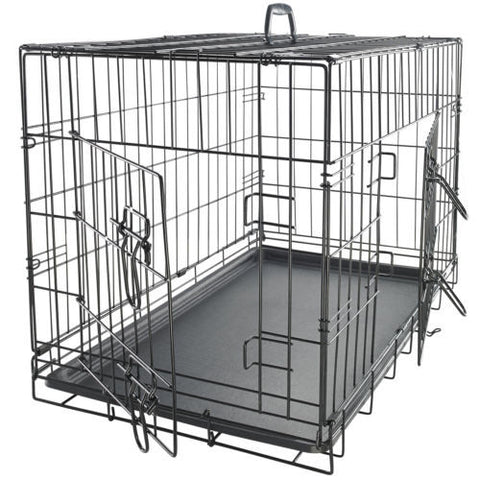 Dog Crate 2 Door w/Divide w/Tray Fold Metal Pet Cage Kennel House 42""