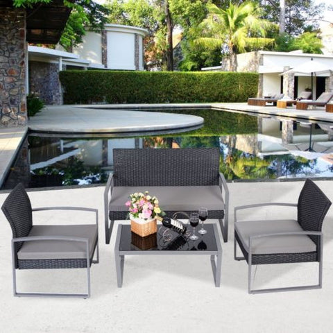 4 PCS Outdoor Patio Garden Black Rattan Wicker Sofa Set Furniture Cushioned - Price Drop Online