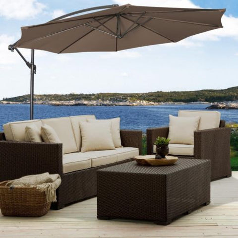 10' Ft Hanging Umbrella Patio Sun Shade Offset Outdoor Market W/ Cross Base Tan - Price Drop Online
