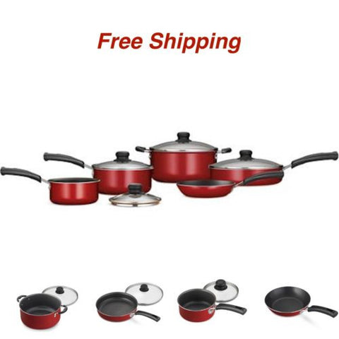 9-Piece Essential Nonstick Cookware Set Pots And Pans Kitchen Red