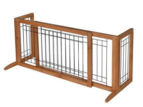 Adjustable Indoor Solid Wood Construction Pet Fence Gate Free Standing Dog Gate