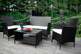 4PCS Outdoor Rattan Wicker Patio Set | Garden Lawn Rattan Sofa Furniture Cushioned - Price Drop Online