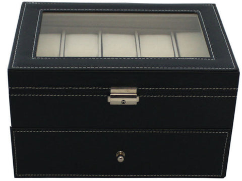Black Leather Mens Watch Display Case Glass 20 Grid Top Jewelry Box