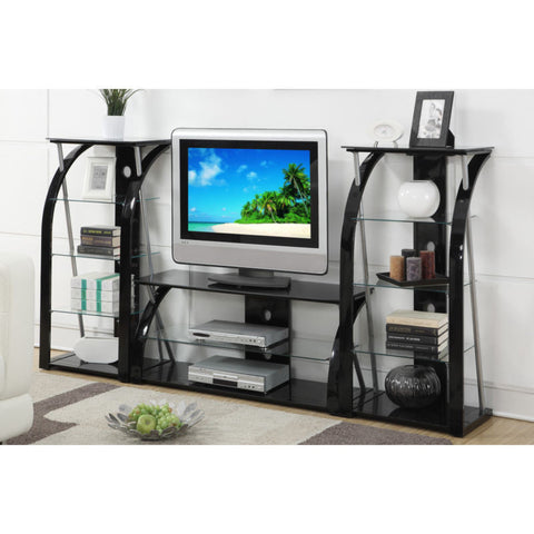 TV Stand Entertainment Center Media Console- Black Glass Metal Dynamic  / Shelf