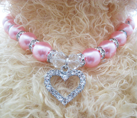 Dog pearls necklace collar rhinestones LOVE charm pendant,pet puppy jewelry