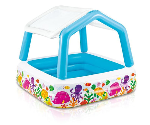 Inflatable Ocean Scene Sun Shade Kids Swimming Pool With Canopy