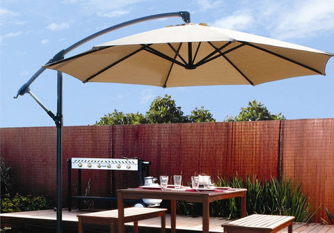 10ft out door deck Patio Umbrella Off set Tilt Cantilever Hanging Canopy tan