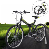 "26"" Folding 6 Speed Mountain Bike Bicycle Shimano School Sport Black"