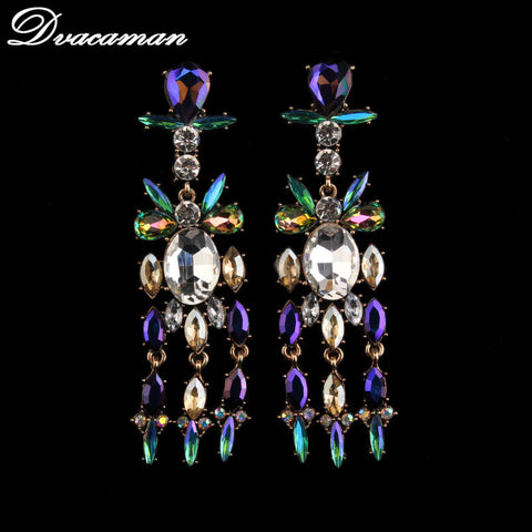 Colorful Crystal Earrings Drop Tassel Earrings Women Jewelry