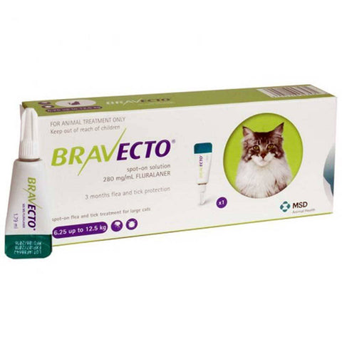 Bravecto 500mg Spot-On Solution For Large Cats 13.8-27.5lbs (6.25-12.5kg), UK | UnitedPetWorld