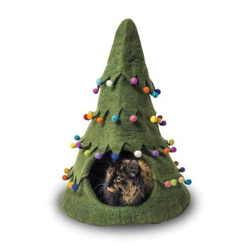 Dharma Dog Karma Cat Green/Multi Holiday Tree Cat Cave | UnitedPetWorld.Com