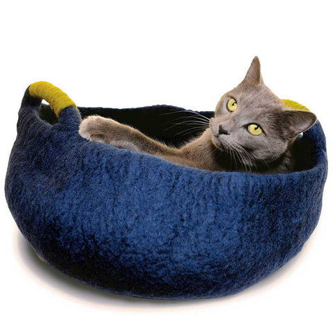 Dharma Dog Karma Cat Handle Basket Navy For Cats & Small Dogs | UnitedPetWorld.Com