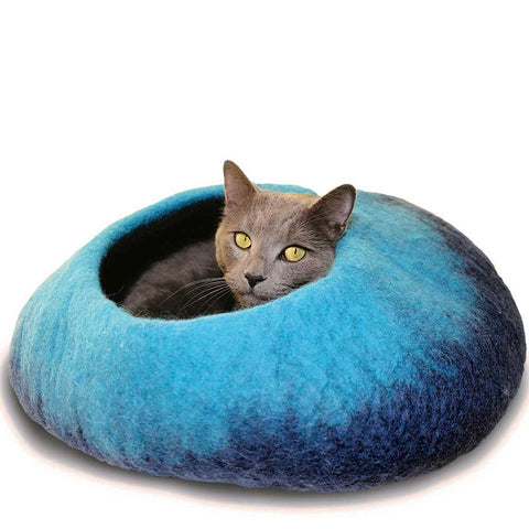 Dharma Dog Karma Cat Navy/Turquoise Ombre Cat Cave | UnitedPetWorld.Com