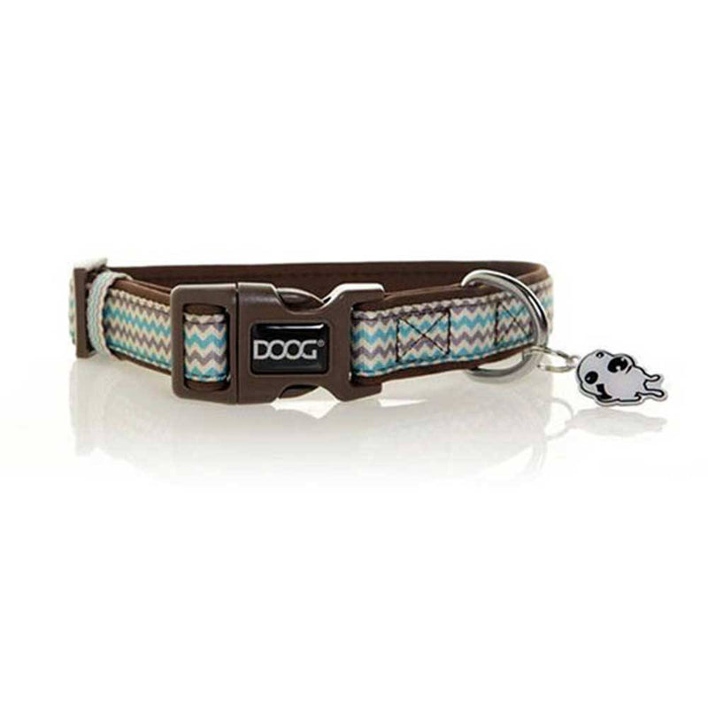 Doog Neoprene Dog Collar (Benji - Brown And Blue Zigzag) | Unitedpetworld.Com