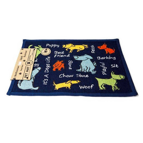 PB Paws & Co. Tapestry Pet Mats, Dog Show Pattern (Navy) | Singpet.Com