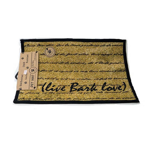 PB Paws & Co. Tapestry Pet Mats, Live Bark Love Pattern (Gold)