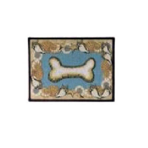 PB Paws & Co. Tapestry Pet Mats, Seashell Bone Pattern (Aquamarine)