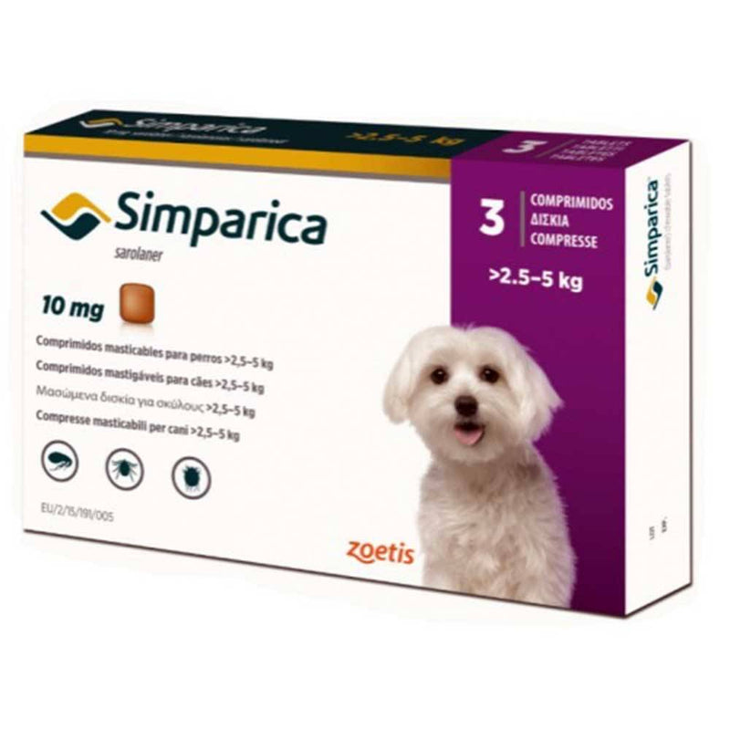 Simparica Chewables Flea & Tick Oral Treatment For Dogs Weighing 2.5-5 kg (06-11 lbs) | UnitedPetWorld.Com