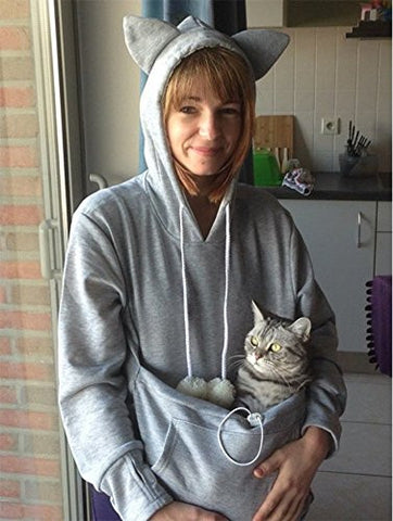Cat Lovers Hoodies With Cuddle Pouch Mewgaroo Nyangaroo Dog Pet Hoodies For Casual Kangaroo Pullovers With Ears Sweatshirt