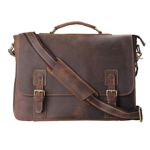 Kattee Horse Leather Briefcase, Messenger Laptop Handbag