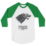 GOT Solid 3/4 Sleeve Unisex Fine Jersey Raglan Tee- Game of Thrones