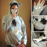 Cat Lovers Hoodies With Cuddle Pouch Mewgaroo Nyangaroo Dog Pet Hoodies - Dealswelove