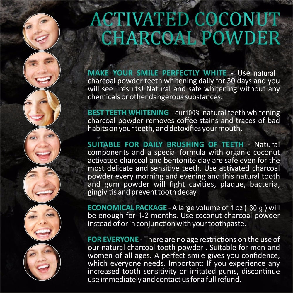 100% Natural Carbon Coco Teeth Whitening Powder