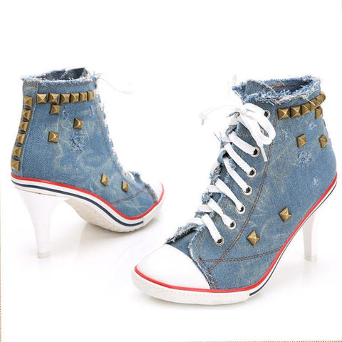 FASHION - Denim Sneakers With Heels - Dealswelove