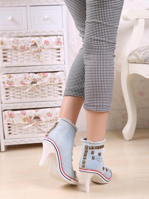 FASHION - Denim Sneakers With Heels