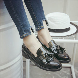 KEUEK-Oxfords Leather Pointed Toe