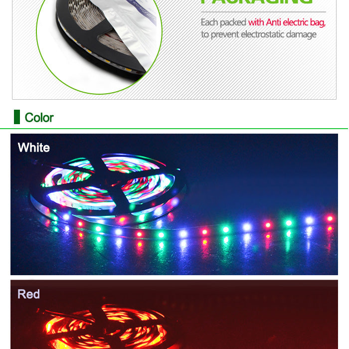 LED RGB Strip Lights 5M / 197 Inch With IR Remote