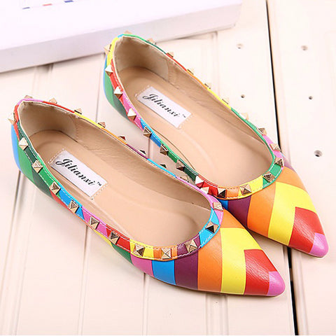 Beautiful Colorful Rivet Casual Flats