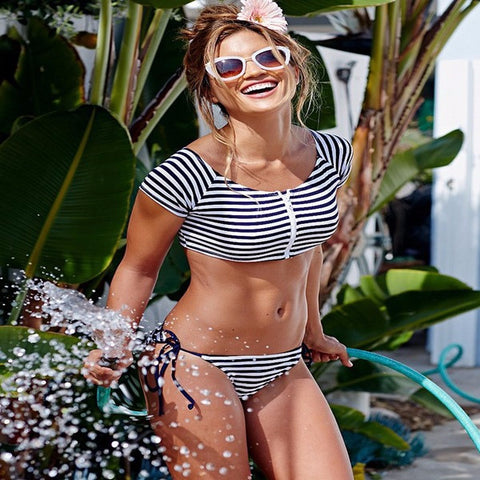 Trendy Stripe Stylish Shirt Bikini Swimsuit