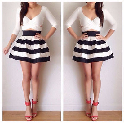 Stylish Casual Two-Piece Bodycon Crop Top Dress
