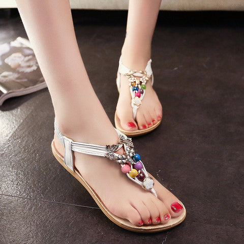 Charming Bohemian Bead Ankle Sandals