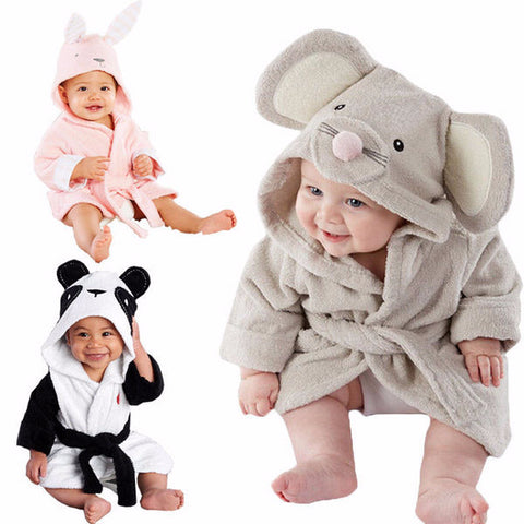 Cute Cartoon Animal Baby Hooded Terry Bathrobe