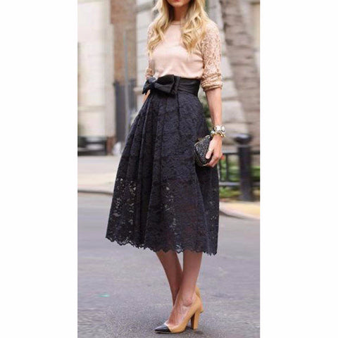 Lovely Lace Bow Ribbon Black Long Skirt