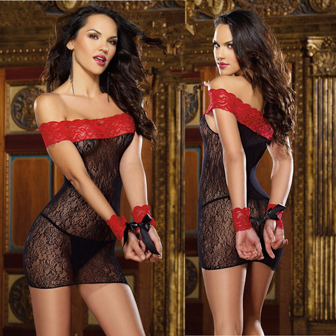 Edgy Stunning Black And Red Lace Nightgown Lingerie