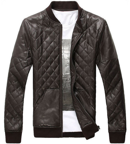Mens Quilted Faux Leather Jacket – Womens Fashion Factory : men quilted leather jacket - Adamdwight.com
