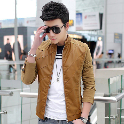 Mens Slim Long Sleeve PU Jacket
