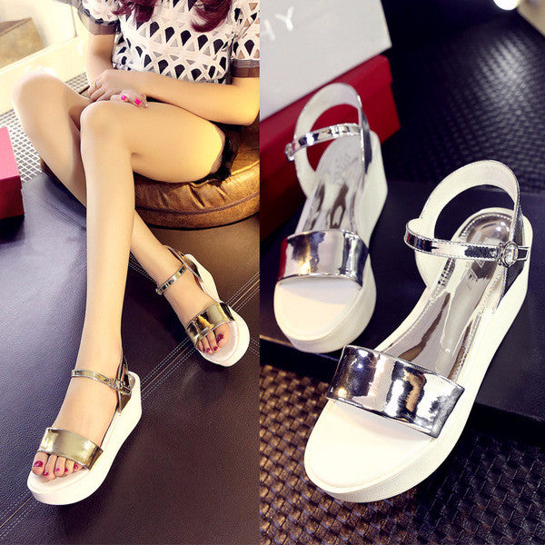 66dc185c3ce Stunning Shiny Ankle Strap Platform Sandals – Womens Fashion Factory