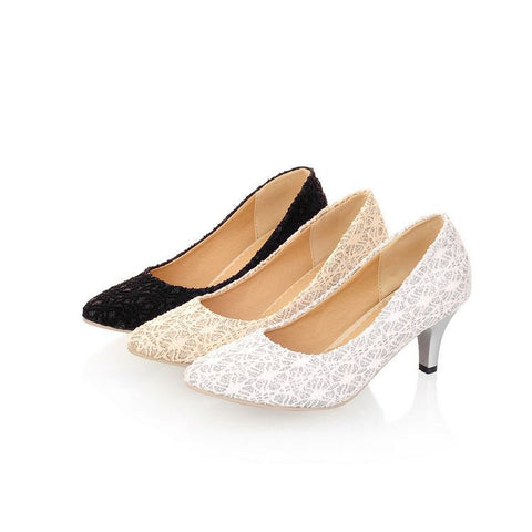 Womens Charming Lace Mid Heels
