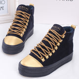 Womens Casual Gold Toe High Top Sneakers