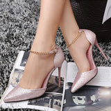 Womens Hot Ankle Chain High Heels
